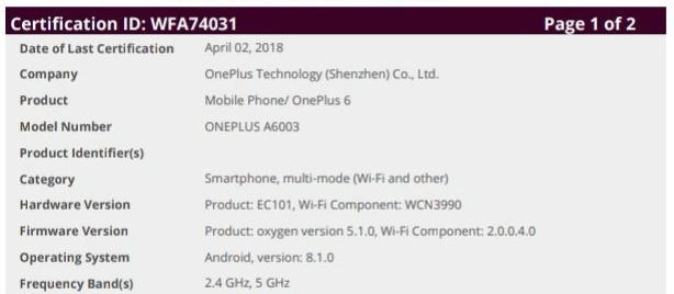 OnePlus 6 Wi-Fi