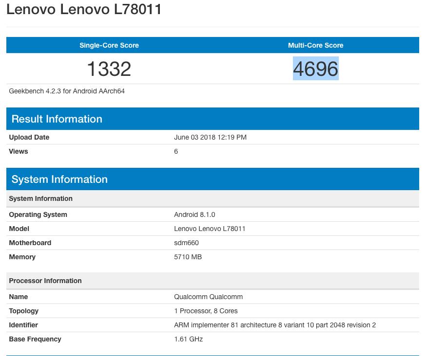 Lenovo Z5 Geekbench
